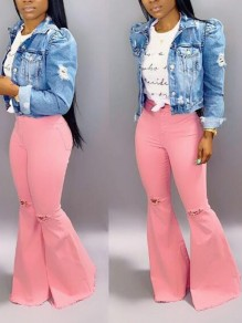 Pink Pockets Ripped Destroyed Distressed Flare Bell Bottom Vintage Long Jeans