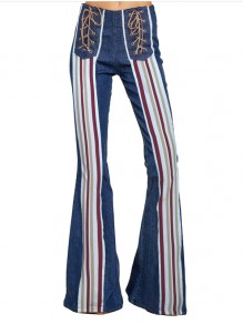 Blue Rainbow Striped Lace-up High Waisted Bell Bottomed Flares Boho Long Pant