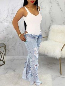 Light Blue Buttons Ripped Destroyed Distressed Rasheeda Shredded Denim Long Pants