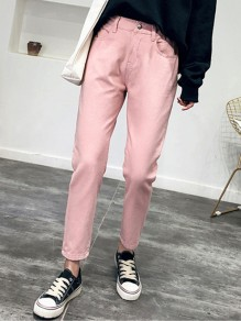 Pink Pockets Buttons High Waisted Mom Boyfriend Casual Long Jeans