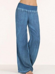Light Blue Draped Wide Leg Plus Size Casual Denim Long Jeans