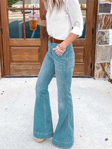 Light Blue Pockets High Waisted Vintage Flare Bell Bottom Long Jeans