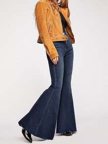 Blue Pockets Buttons Denim High Waisted Bell Bottomed Flares Long Jean