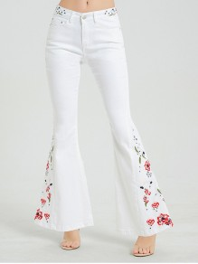 White Embroidery Pockets Denim High Waisted Bell Bottomed Flares Mexican Long Jean