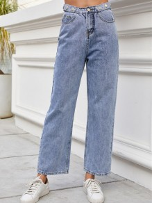 Blue Pocket Loose High Waisted Vintage Long Boyfriend Jean Pants