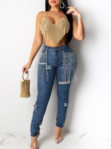 Blue Patchwork Rhinestone Tassel NYE Sparkly High Waisted Party Long Jeans