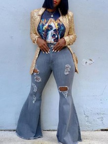 Light Blue Cut Out Ripped Destroyed High Waisted Extreme Flare Bell Bottom Long Jeans