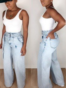 Light Blue Belt Pockets Denim Wide Leg Palazzo Long Jean