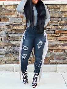 Black Blue Patchwork Tassel Pockets Buttons Ripped Destroyed High Waisted Cow Long Jeans