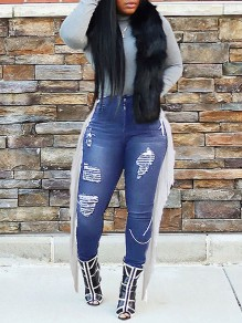 Dark Blue Patchwork Tassel Pockets Buttons Ripped Destroyed High Waisted Cow Long Jeans