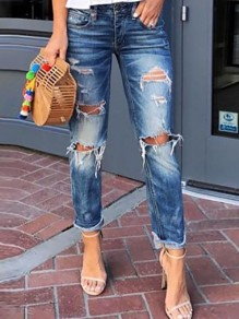 Blue Patchwork Ripped Destroyed High Waisted Long Jeans