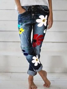 Dark Blue Flowers Print Pockets Buttons High Waisted Fashion Long Jeans