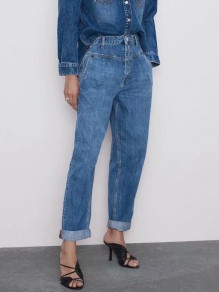 Blue Pockets Buttons High Waisted Fashion Loose Mom Long Jeans