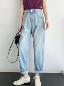 Light Blue Pockets Buttons High Waist Oversize Fashion Long Jeans