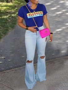 Blue Pockets Ripped Distressed Denim Flare Bell Bottom High Waisted Casual Long Jeans Pants