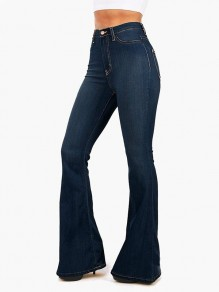 Dark Blue Pockets Buttons High Waisted Flare Bell Bottom Slim Big Booty Vintage Long Jeans Pants