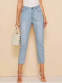Light Blue Pockets Buttons Zipper High Waisted Fashion Nine's Jeans