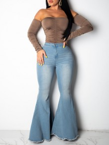 Blue Pockets Buttons High Waisted Washed-out Style Flare Bell Bottom Long Jeans