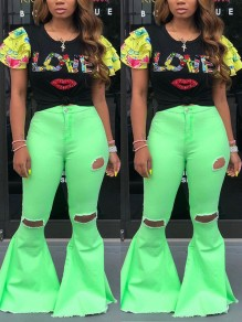 Neon Green Pockets Buttons High Waisted Knee Ripped Destroyed Flare Bell Bottom Denim Long Jeans