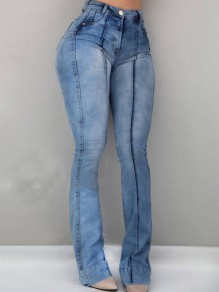 Light Blue Pockets Buttons High Waisted Washed-out Style Bootcut Casual Long Flare Bell Bottom Jeans