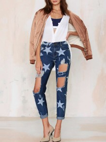 Blue Star Print Pockets Buttons Ripped Destroyed High Waisted Boyfriend Long Jeans