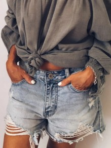 Blue Cut Out Pockets Buttons High Waisted Distressed Short Jeans