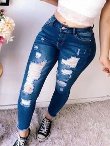 Dark Blue Pocket Ripped Destroyed High Waisted Long Jean Pants