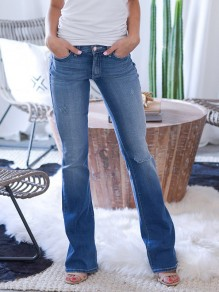 Blue Pockets Buttons Flare Bell Bottom Knee Ripped Distressed Denim Casual Long Jeans