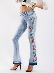 Light Blue Side Embroidery Print Pockets Buttons High Waisted Flare Bell Bottom Plus Size Long Jeans