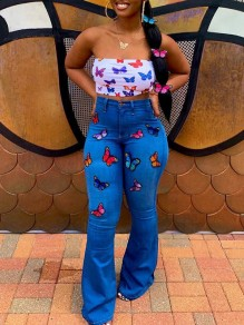 Blue Butterfly Embroidery Print Pockets Buttons With Rhinestones High Waisted Flare Bell Bottom Long Jeans