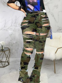 Green Camouflage Print Patchwrk High Waisted Flare Bell Bottom Ripped Destroyed Baggy Jeans