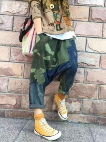 Army Green Camouflage Pattern Draped Distressed Pockets Baggy Harem Long Jeans