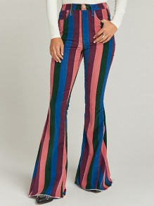 Rainbow Striped Print Pockets Buttons High Waisted Flare Bell Bottom Vintage Long Jeans