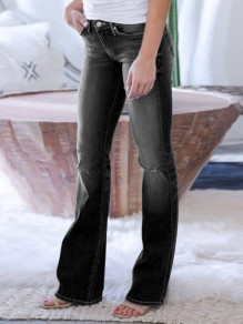 Black Bootcut Pocket High Waisted Flare Bell Bottom Jean Long Pants