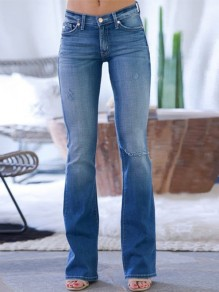 Dark Blue Bootcut Pocket High Waisted Flare Bell Bottom Jean Long Pants