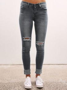 Grey Pocket Ripped Destroyed High Waisted Vintage Long Jean Pants