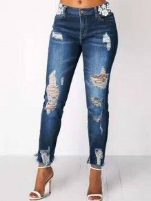 Dark Blue Patchwork Lace Ripped Destroyed Distressed High Waisted Long Jeans