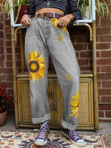Grey Sunflower Print Pockets Buttons High Waisted Wide Leg Palazzo Casual Long Jeans