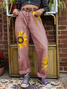 Red Sunflower Print Pockets Buttons High Waisted Wide Leg Palazzo Casual Long Jeans