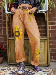Yellow Sunflower Print Pockets Buttons High Waisted Wide Leg Palazzo Casual Long Jeans