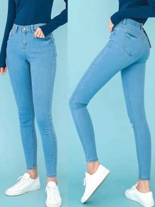 Light Blue Pockets Buttons High Waisted Fashion Long Jeans