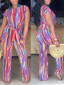 Rainbow Striped Print Pockets Two Piece Wide Leg Fashion Long Jumpsuit