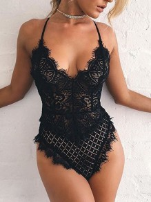 Black Lace Spaghetti Strap V-neck Bodycon One Piece Fashion Short Jumpsuit