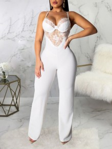White Patchwork Lace Spaghetti Strap Backless Elegant Party High Waisted Wide Leg Palazzo Long Jumpsuit