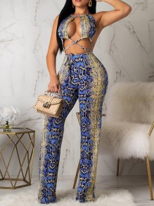 Blue Snake Print Cut Out Backless Party Clubwear High Waisted Wide Leg Palazzo Long Jumpsuit