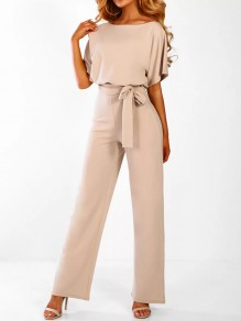 84aaf48350b Apricot Buttons Sashes Round Neck Short Sleeve Elegant Long Jumpsuit