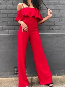 Red Ruffle Off Shoulder Spaghetti Strap High Waisted Elegant Long Jumpsuit