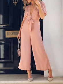 Pink Sashes Deep V-neck High Waisted Elegant Wide Leg Long Jumpsuit
