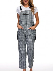Grey Plaid Print Zipper Pockets Shoulder-Strap Going out Long Jumpsuit