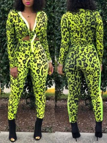 Green Leopard Print Knot Two Piece V-neck Long Sleeve Bodycon Party Long Jumpsuit